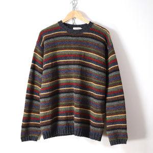 vintage 90s j crew striped wool sweater mens L
